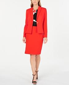 Calvin Klein One-Button Jacket, Printed Pleat-Neck Top & Straight Skirt