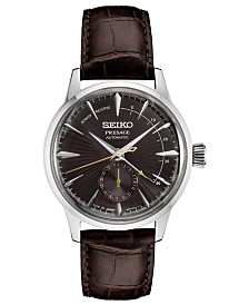 Seiko Men's Automatic Presage Brown Leather Strap Watch 40.5mm
