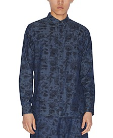 Men's Floral Paisley Denim Shirt