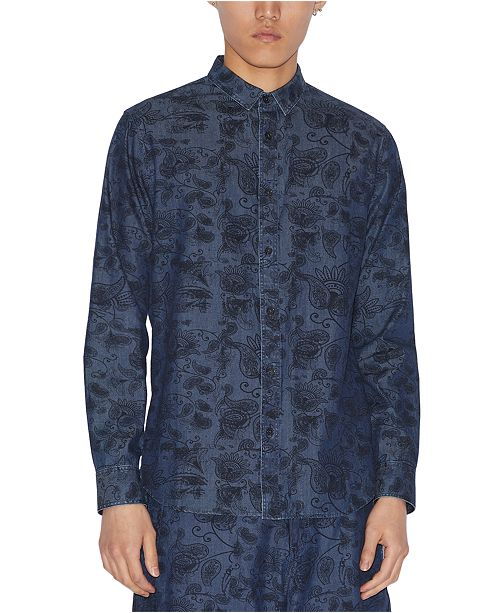 A|X Armani Exchange Men's Floral Paisley Denim Shirt