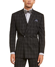 Men's Classic-Fit Stretch Black Plaid Suit Separate Double Breasted Jacket