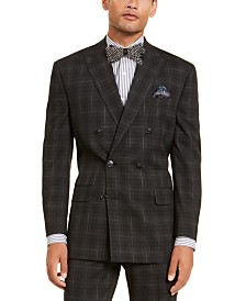 Sean John Men's Classic-Fit Stretch Black Plaid Suit Separate Double Breasted Jacket