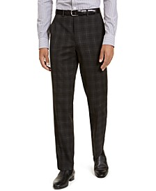 Men's Classic-Fit Stretch Black Plaid Suit Separate Pants
