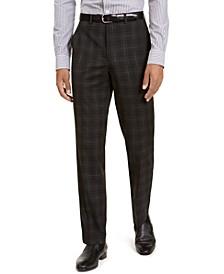 Men's Classic-Fit Stretch Black Plaid Suit Separate Pants