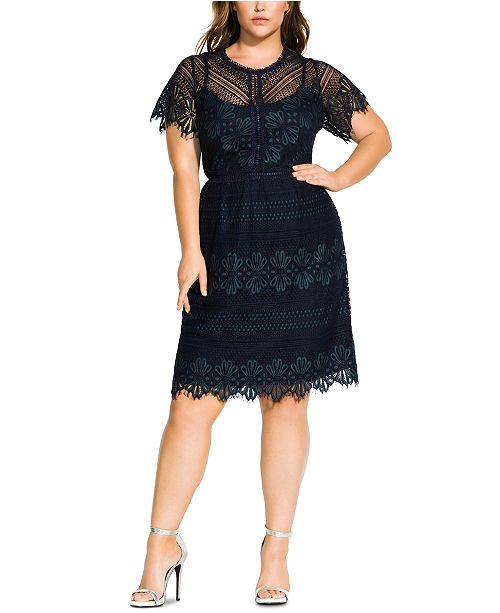 City Chic Trendy Plus Size Scalloped Lace Dress