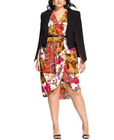 City Chic Trendy Plus Size Double Cape Jacket