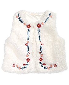 Baby Girls Embroidered Faux Fur Vest, Created For Macy's