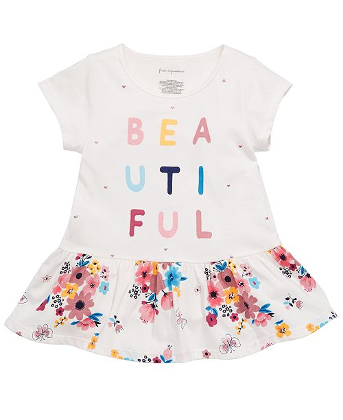 First Impressions Toddler Girls Beautiful-Print Cotton Peplum Tunic, Created for Macy's