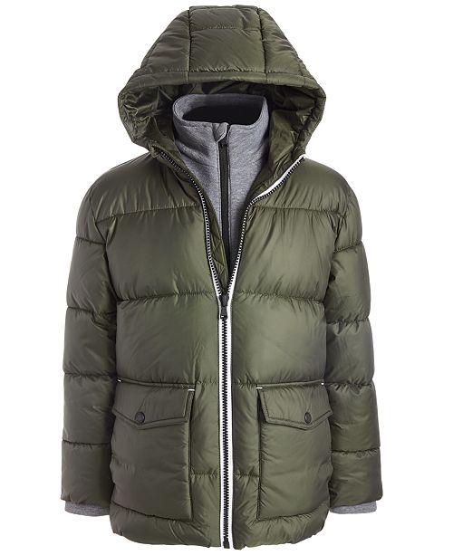 Michael Kors Toddler Boys Hooded Puffer Jacket With Fleece Bib