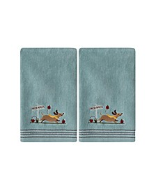 Ltd Dog with Apples 2 Piece Hand Towel Set
