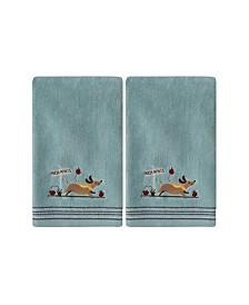 Saturday Knight Ltd Dog with Apples 2 Piece Hand Towel Set