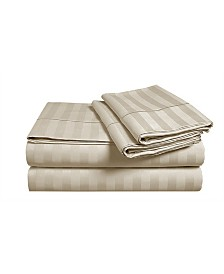 "Addy Home 18"" Extra Deep Pocket 4-piece Damask Stripe Sheet Set, King"