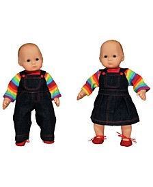 """Set of Two 15"""" Doll Clothes for Bitty Twins Rainbow"""