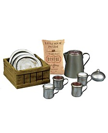 "Little House on the Prairie 18 "" Doll Dishware Set - 4 Dishes, 4 Cups, Coffee Pot, Coffee Sack Crate"