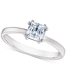 Silver-Tone Cubic Zirconia Solitaire Statement Ring