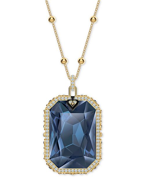"Swarovski Gold-Tone Crystal & Evil Eye Reversible Pendant Necklace, 31-3/8"" + 3/4"" extender"