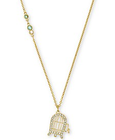 "Swarovski Gold-Tone Crystal Loony Tunes Tweety Cage Pendant Necklace, 21-5/8"" + 1/2"" extender"