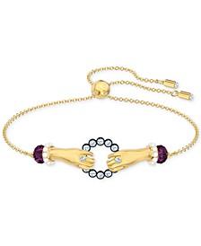 Gold-Tone Crystal Grasping Hands Bolo Bracelet