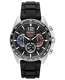 Seiko Men's Essentials Chronograph Black Silicone Strap Watch 43.9mm