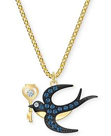 """Gold-Tone Crystal Bird & Key Pendant Necklace, 14"""" + 7/8"""" extender"""