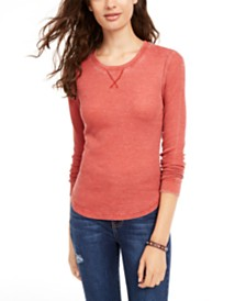Ultra Flirt Juniors' Scoop-Neck Waffle-Knit Top