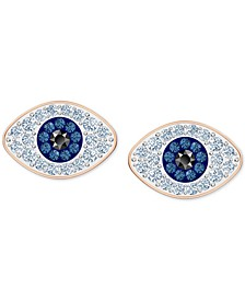 Rose Gold-Tone Crystal Evil-Eye Stud Earrings