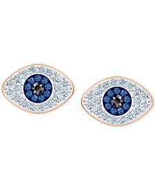 Swarovski Rose Gold-Tone Crystal Evil-Eye Stud Earrings