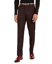 Men's Classic-Fit Stretch Burgundy Neat Suit Separate Pants
