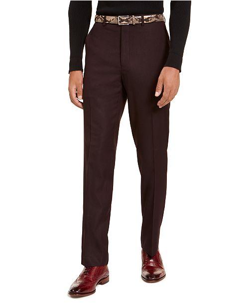 Sean John Men's Classic-Fit Stretch Burgundy Neat Suit Separate Pants