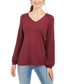 Petite Bishop-Sleeve Tunic Sweater, Created for Macy's