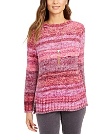 Petite Crewneck Chenille Sweater, Created for Macy's