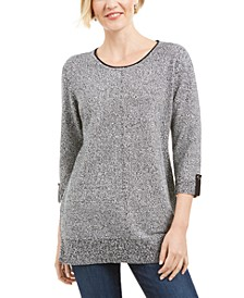 Cotton Marled Roll-Tab Sweater, Created for Macy's