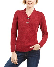 Cotton Marled Henley Sweater, Created for Macy's