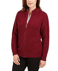 Petite Cable-Knit Zip-Front Sweater, Created for Macy's