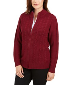 Karen Scott Petite Cable-Knit Zip-Front Sweater, Created for Macy's
