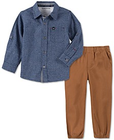 Little Boys 2-Pc. Houndstooth Shirt & Twill Jogger Pants Set
