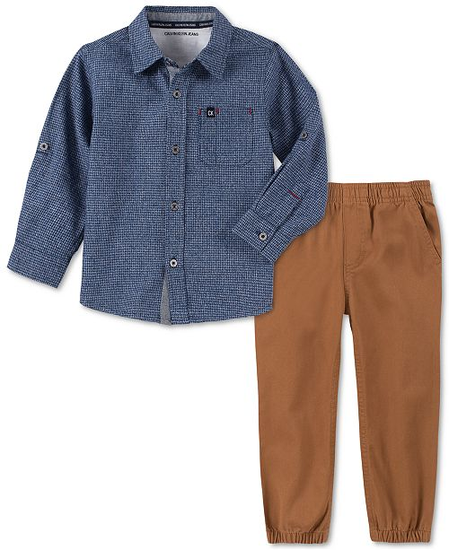 Calvin Klein Little Boys 2-Pc. Houndstooth Shirt & Twill Jogger Pants Set