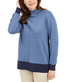 Erin Cotton Colorblocked Mock-Neck Sweater, Created for Macy's