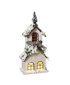 Lighted, White Wood Church with Steeple and Seasonal Accents Figurine