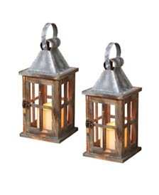 """Sterling 11"""" Rustic Battery Operated Wood Lantern - Set of 2"""