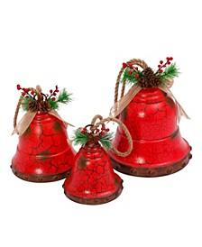 Nested Red Metal Holiday Bells - Set of 3