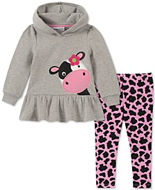 Little Girls Cow Hoodie & Printed Leggings Set