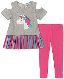 Kids Headquarters Little Girls Cold-Shoulder Unicorn Tunic & Leggings Set