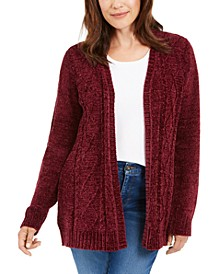 Petite Open-Front Chenille Cardigan, Created for Macy's