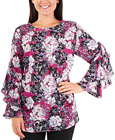 Floral-Print Ruffled-Sleeve Top