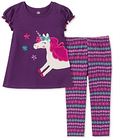 Kids Headquarters Little Girls Unicorn Tunic & Printed Leggings Set
