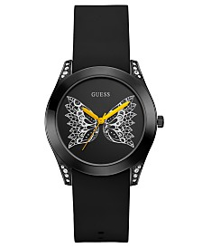 GUESS Women's Wing Black Silicone Strap Watch 39mm