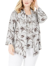 Alfred Dunner Boardroom Floral-Print Layered-Look Necklace Top