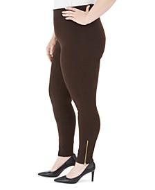 Plus Size Zipper-Hem Leggings, Created For Macy's