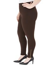 JM Collection Plus Size Zipper-Hem Leggings, Created For Macy's